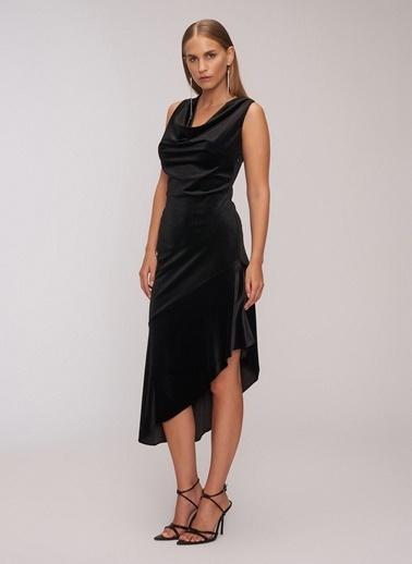 People By Fabrika Degaje Yaka Kadife Elbise Siyah